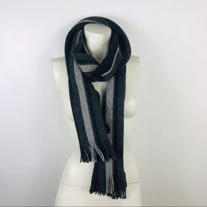 Express 100% Lambs's Wool Striped Scarf W Fringes